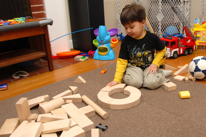 a circle with blocks