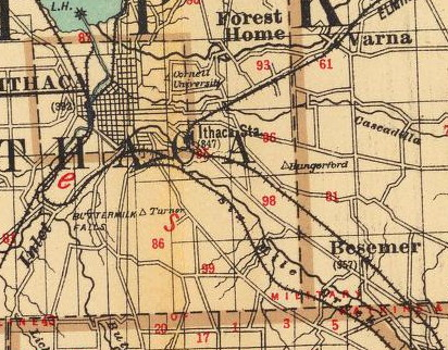 1895 map of Ithaca showing railroad lines