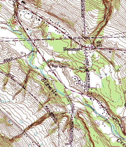 Section of topo map near Ithaca, NY