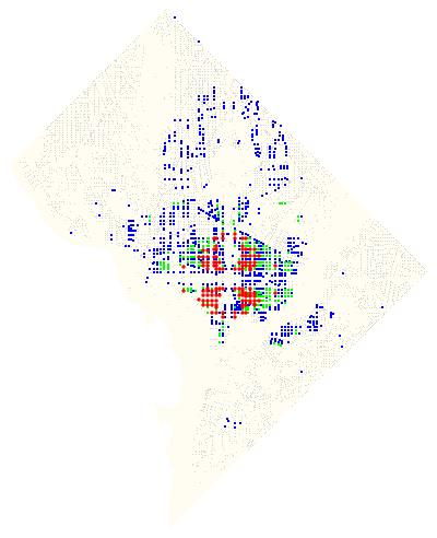 Color coded map of intersections in DC.